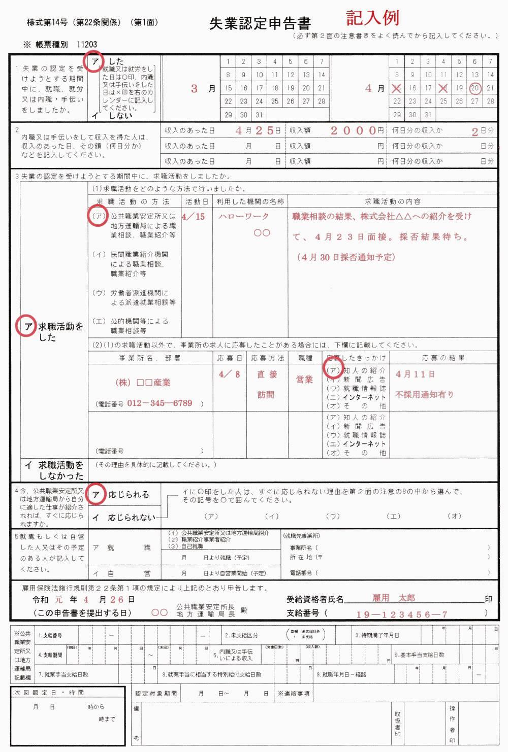 失業認定申告書の記入例