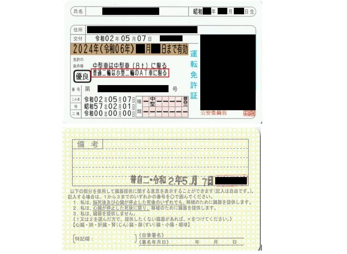 新しい運転免許証